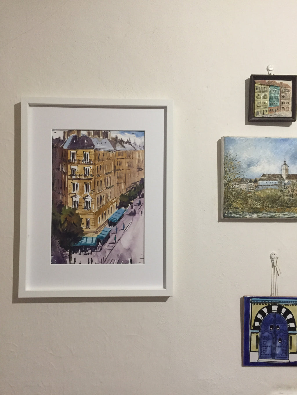 Tall Paris buildings painting - Continuum Watercolors