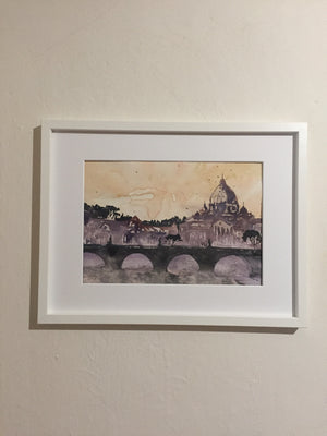Rome bridge painting - Continuum Watercolors