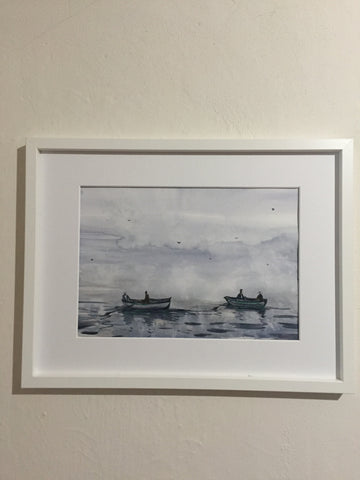 Boats | Watercolor Painting  | Landscape painting |  Watercolour | Original painting | Wall decor |