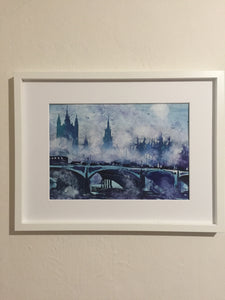 London calling watercolor painting