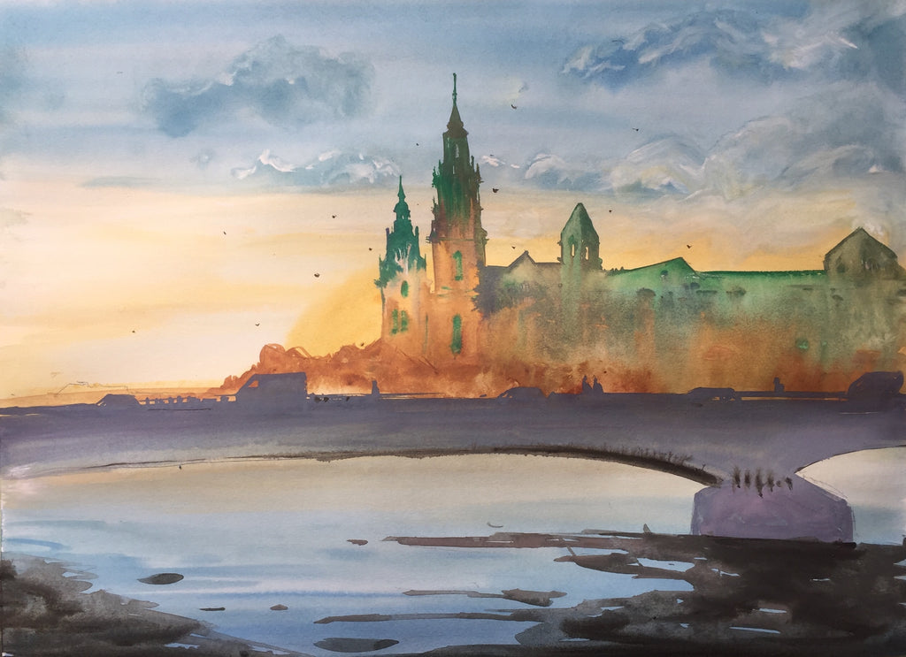 Wawel watercolor painting - Continuum Watercolors