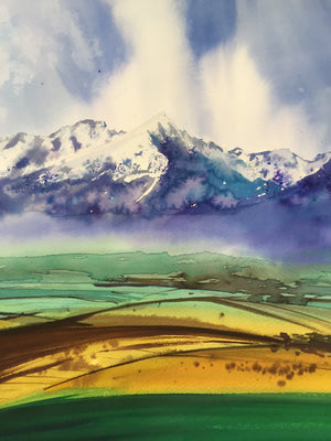 Fields Under Mountains Watercolor Painting - Continuum Watercolors