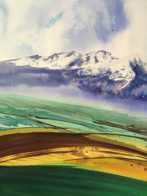 Fields Under Mountains Watercolor Painting