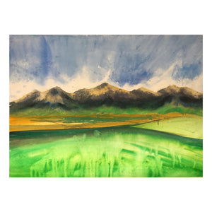 Mountains during Spring Watercolor Painting