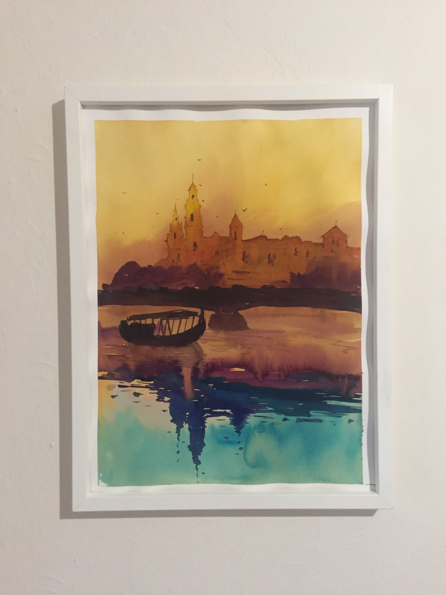Sunset in Krakow watercolor painting