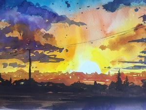 Evening Light Watercolor Painting