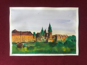 Krakow | Watercolor Painting  | Landscape painting |  Watercolour | Original painting | Wall decor