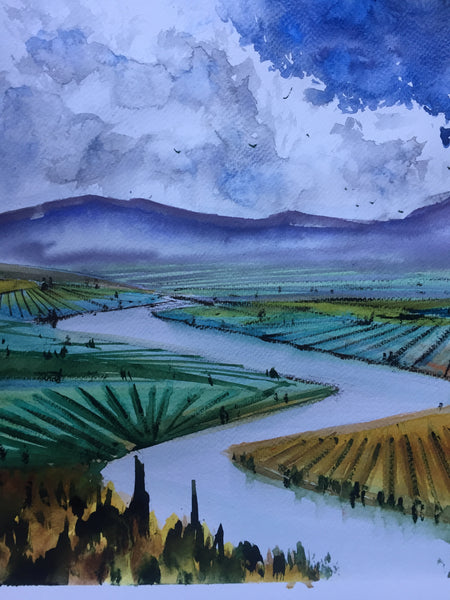 River | Watercolor Painting  | Landscape painting |  Watercolour | Original painting | Wall decor