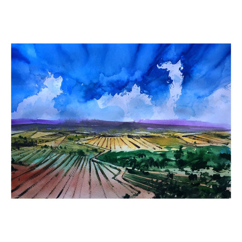 Autumn fields Watercolor Painting  | Landscape painting |  Watercolour | Original painting