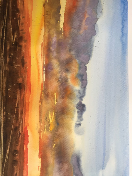 Sunset Watercolor Painting