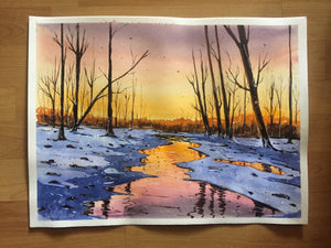 Warm winter susnet Watercolor Painting