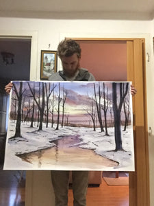 Winter magic large Watercolor Painting
