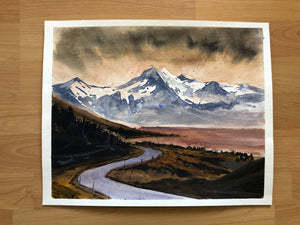 Bob Ross style mountains painting - Continuum Watercolors