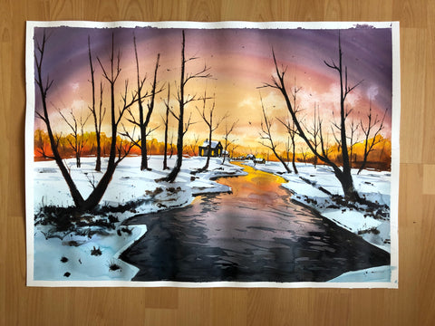 Bob Ross style winter landscape painting