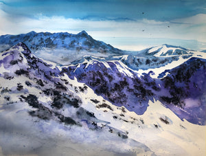 Winter in the mountains watercolor painting