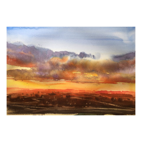 Evening sky | Watercolor Painting  | Landscape painting |  Watercolour | Original painting |