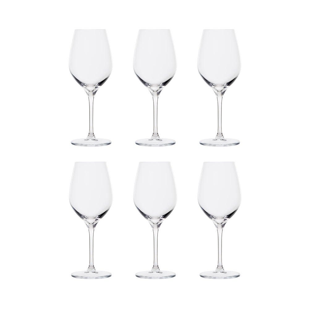 six verres polymaster Royal Glass avec un fond blanc