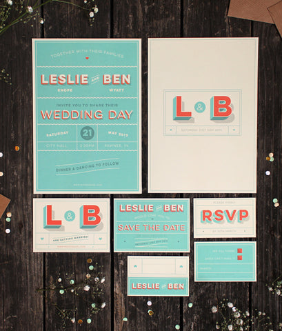 CUSTOM WEDDING INVITES - LESLIE & BEN