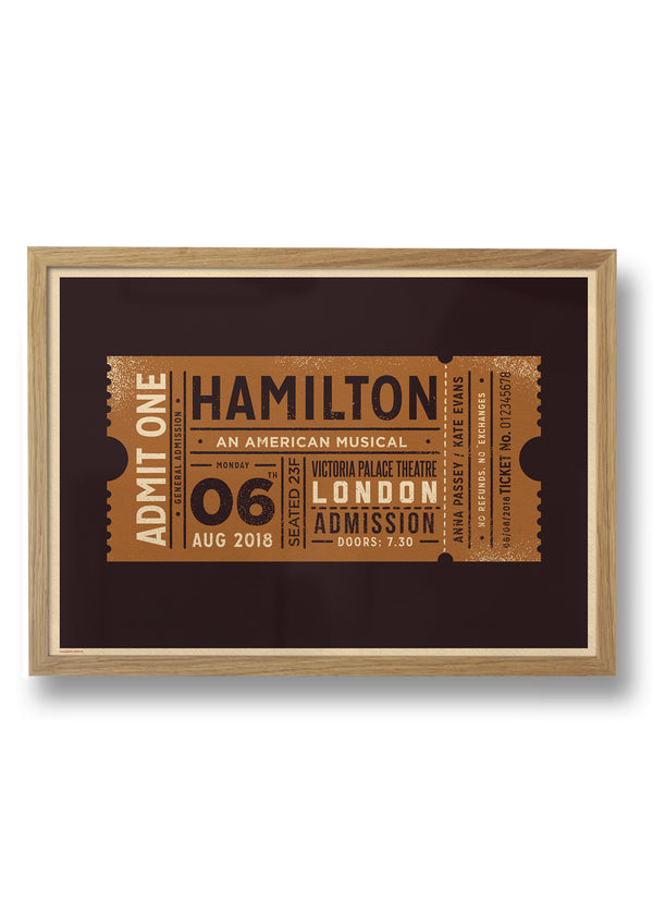 GIG / EVENT TICKET PERSONALISED PRINT - FRAMED