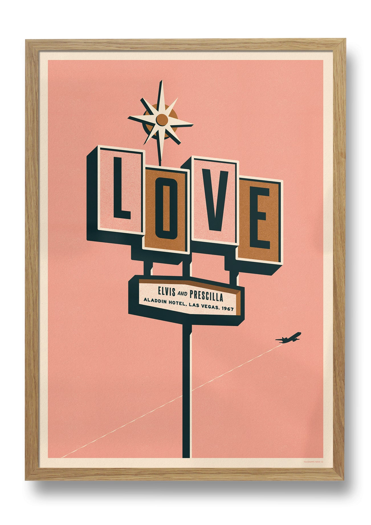 LOVE PRINT - PINK WITH OAK FRAME