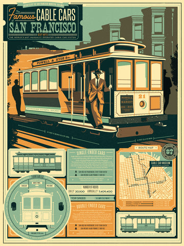 SAN FRAN CABLE CARS - BLUE VARIANT