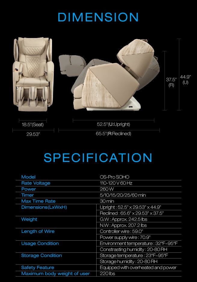Osaki OS-Pro Soho Massage Chair Dimensions and Specifications