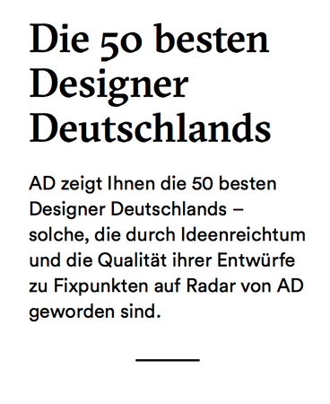 AKTTEM founder named TOP 50 best German Designer by ARCHITECTURAL DIGEST