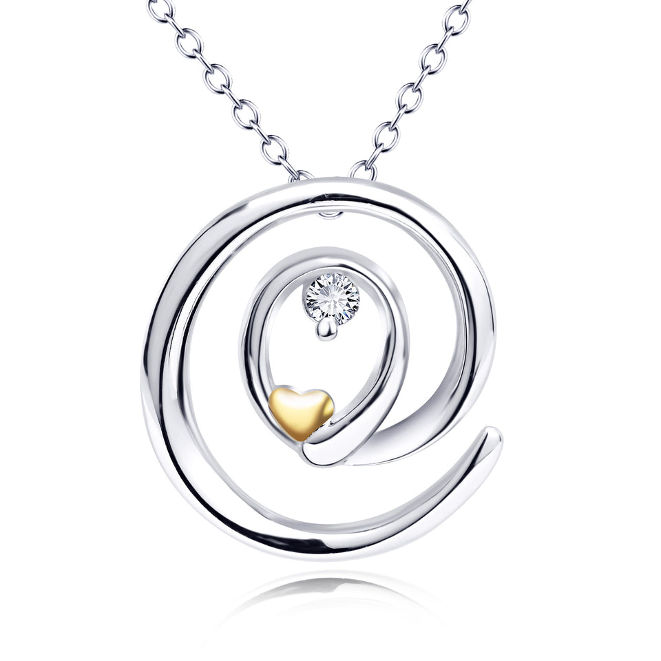 S925 sterling silver jewelry Heart-shaped hollow pendant necklace