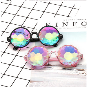 Round Kaleidoscope Glasses Rave Festival Men Women Brand Designer Holographic Kaleidoscope  Sunglasses Retro