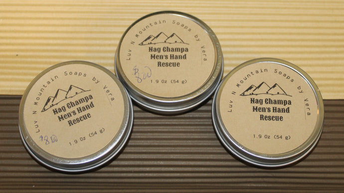 Nag Champa Herbal Men's Hand Rescue.balms.luv-n-mountain-soaps.