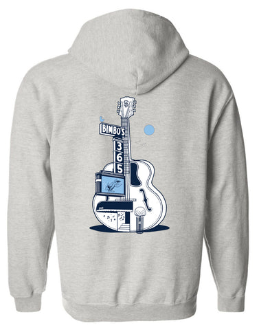 """Dolphina's Blue Moon"" by Jeremy Fish - Grey Zippered Hoodie"