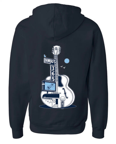 """Dolphina's Blue Moon"" by Jeremy Fish - Dark Navy Zippered Hoodie"