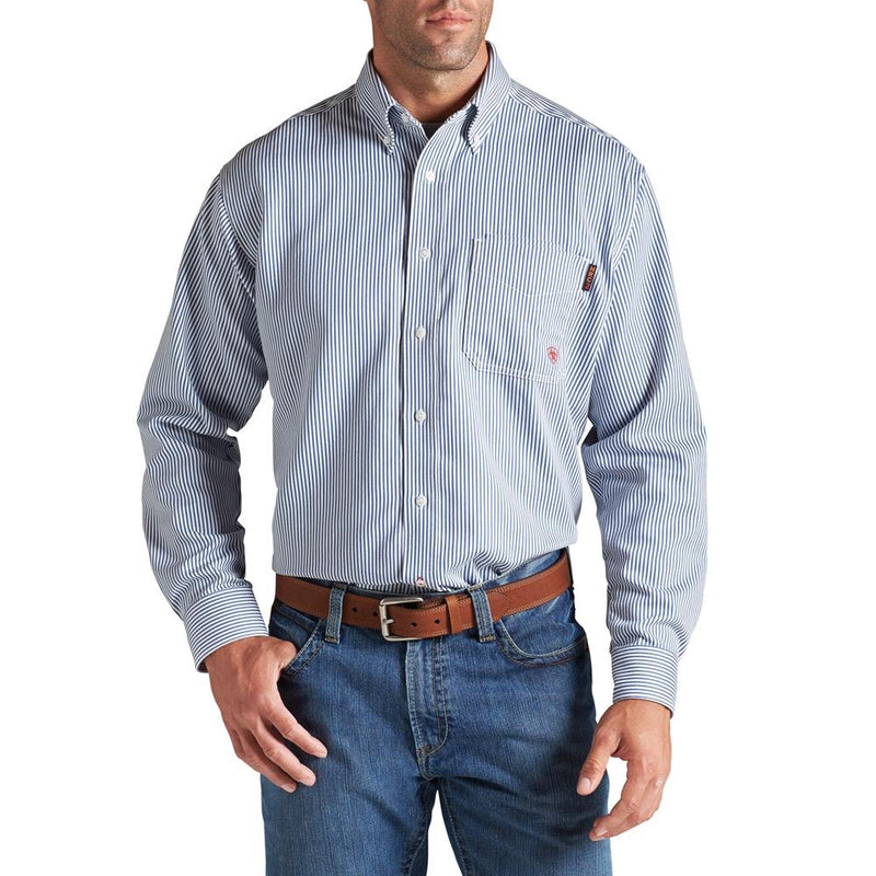 Men's Ariat Blue Pinstripe FR Shirt