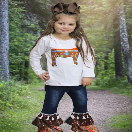 Girls Aztec Cow Outfit