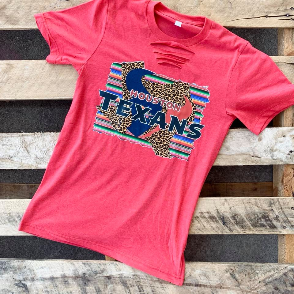 Houston Texan Serape/Leopard Tee