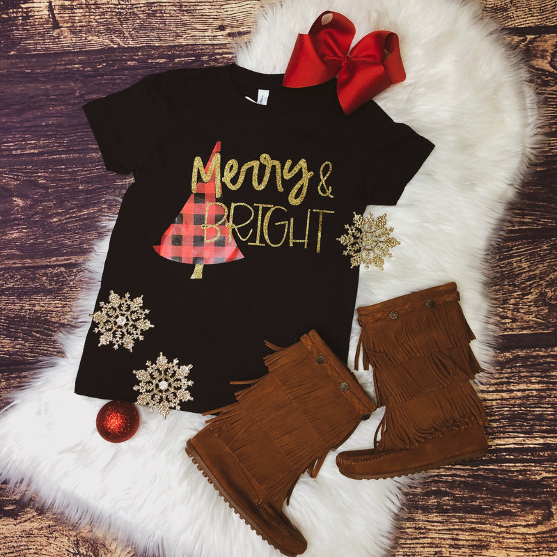 Kids Merry & Bright Christmas Tee