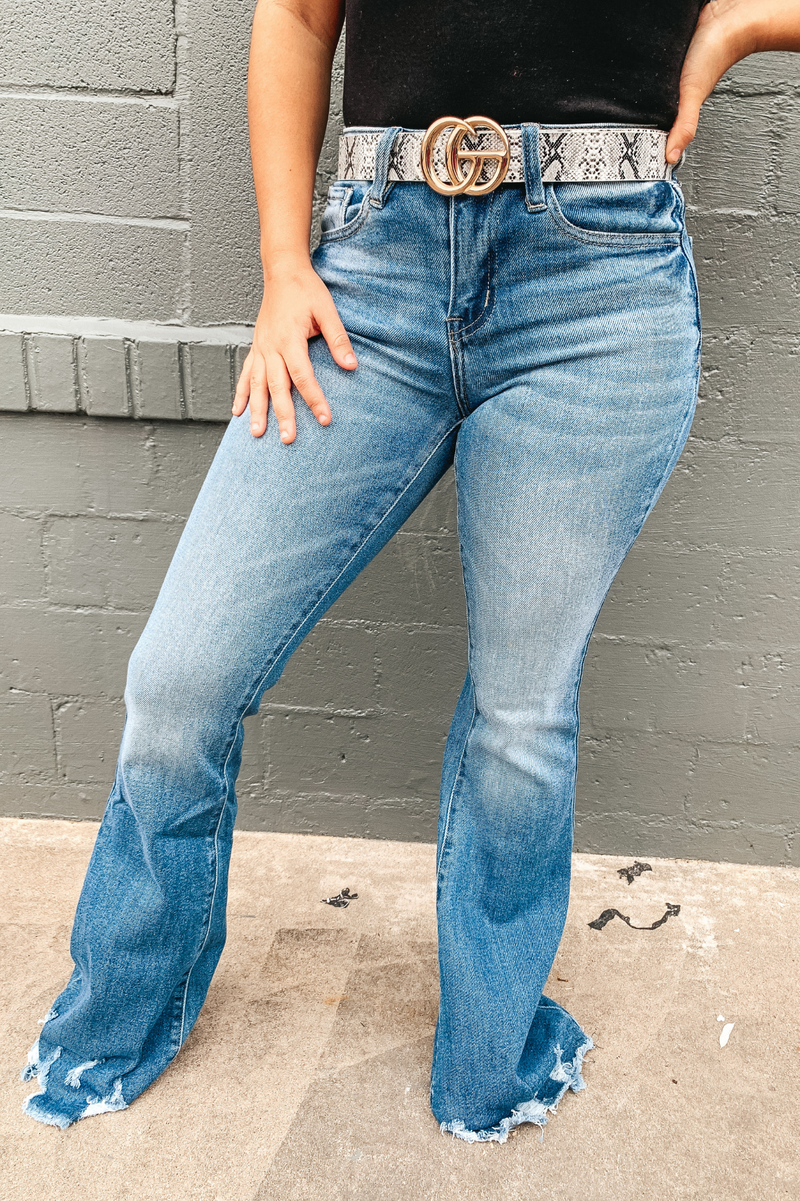 Retro Distressed Flare Jeans