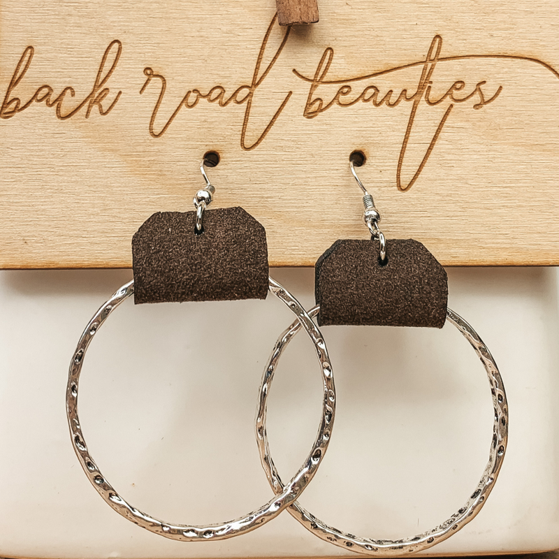 Hammered Silver & Leather Earrings