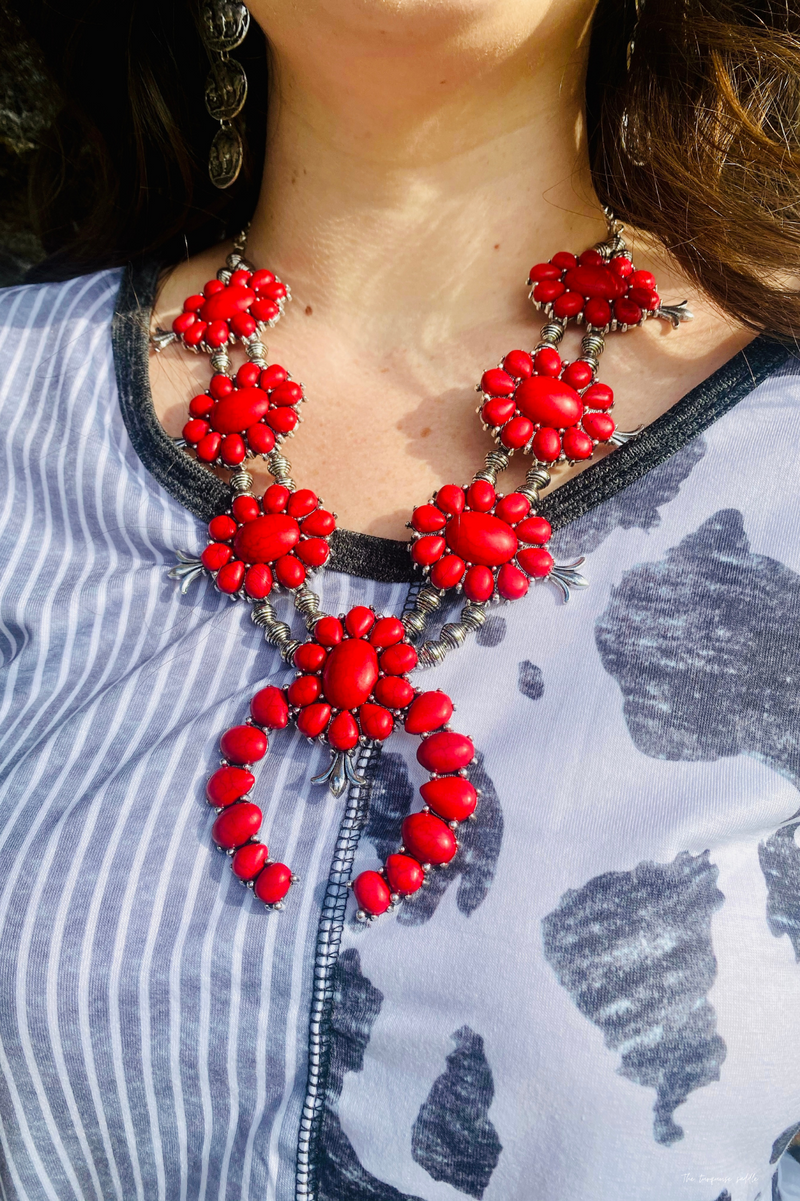Blossom In Red Necklace