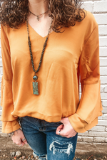 Double Ruffle Mustard Top