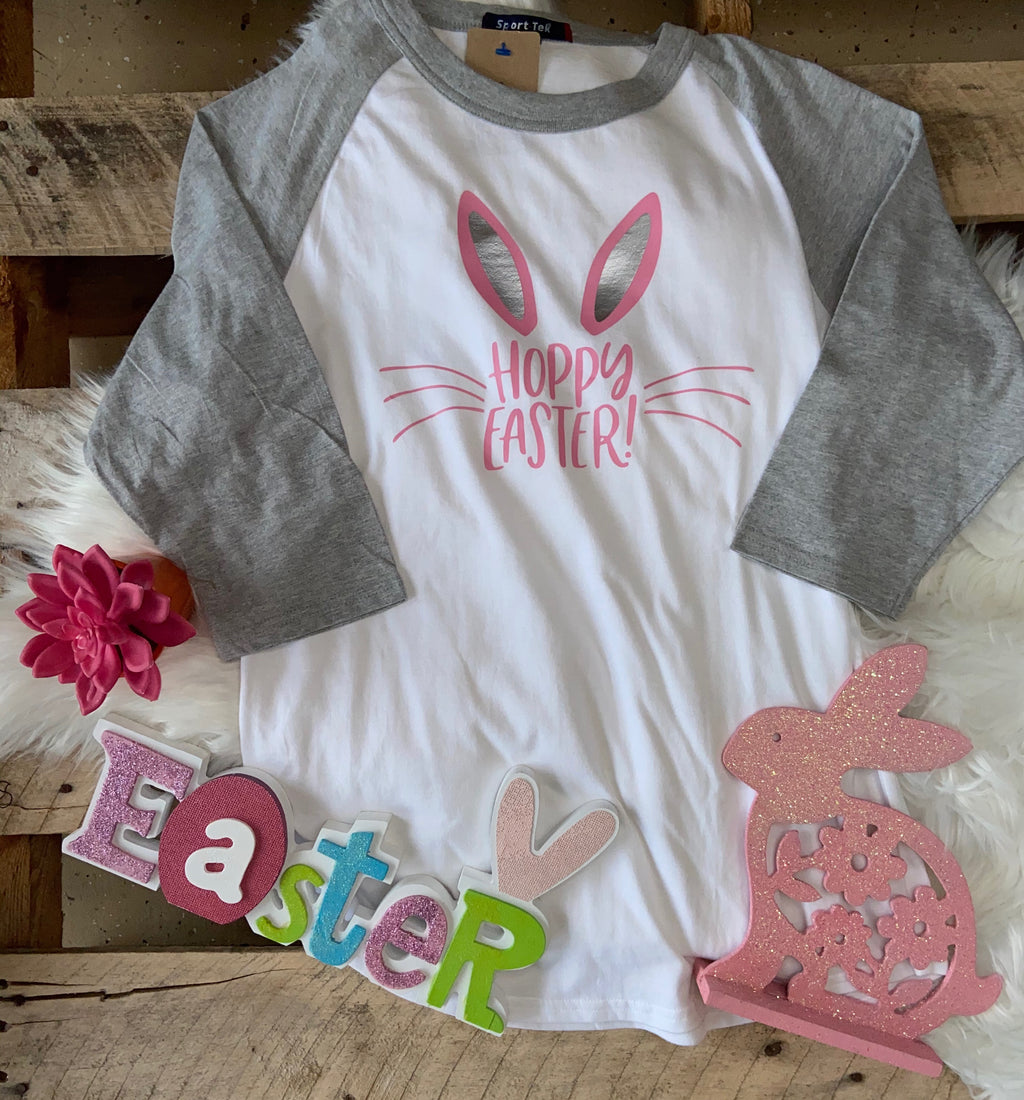 Girls Hoppy Easter Baseball Tee