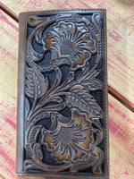 Men's Brown Floral Embossed Rodeo Wallet