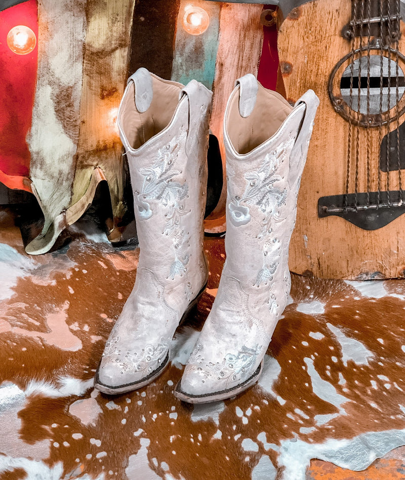 Womens White Floral Bridal Boot