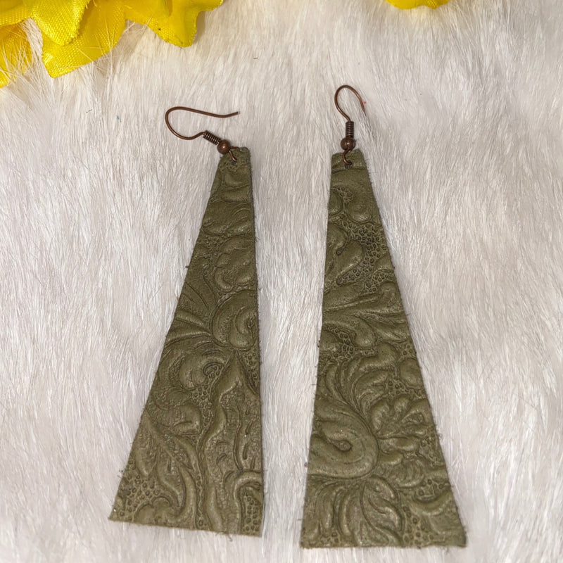 Olive Tooled Leather Earrings
