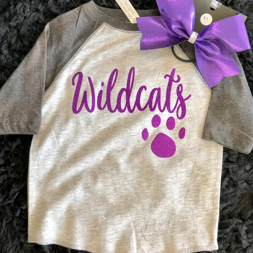 Girls Grey Wildcat Baseball Tee