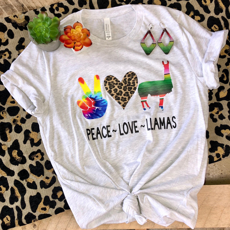 Kids Peace-Love-Llamas Tee