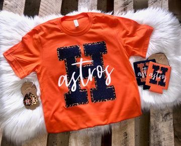 Astros H with Leopard Outline Tee