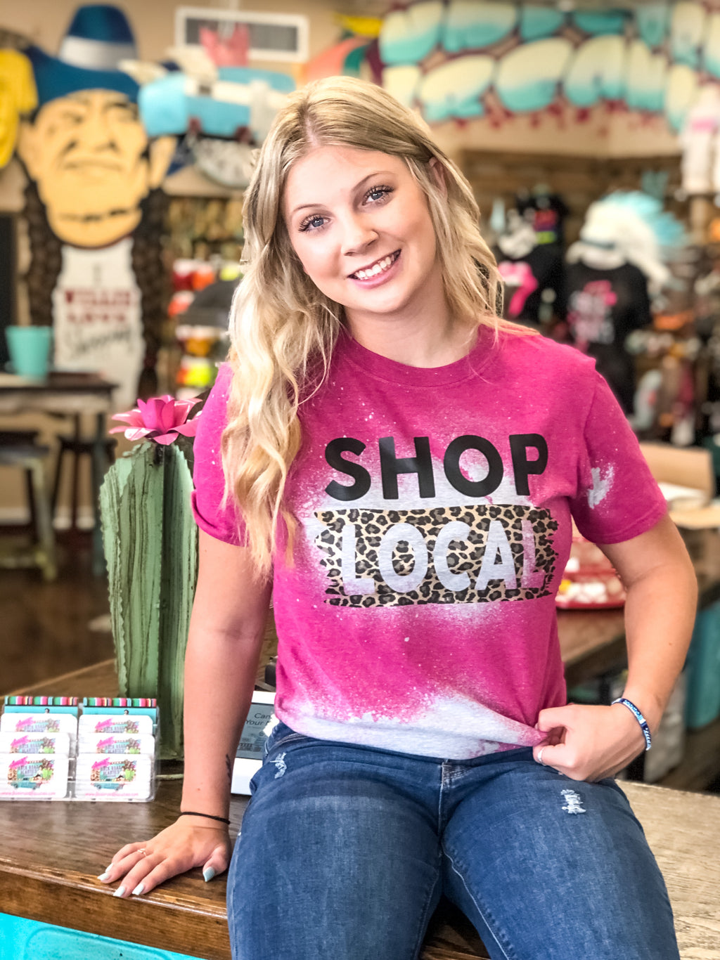 Bleached Shop Local Tee