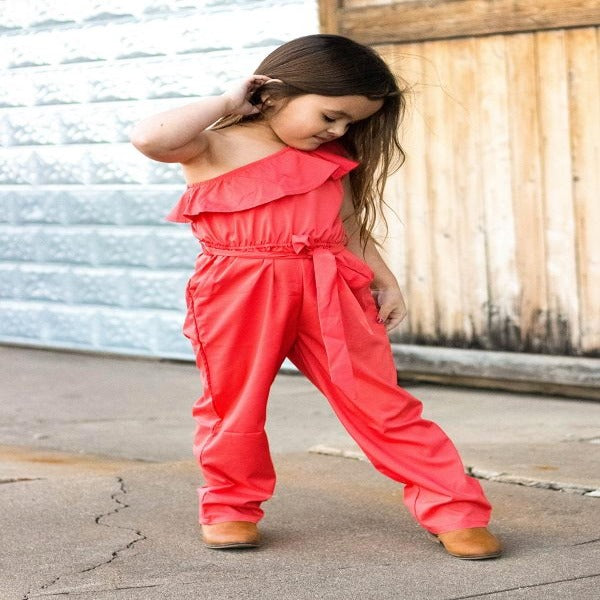 Girls Summer Love Coral Jumpsuit