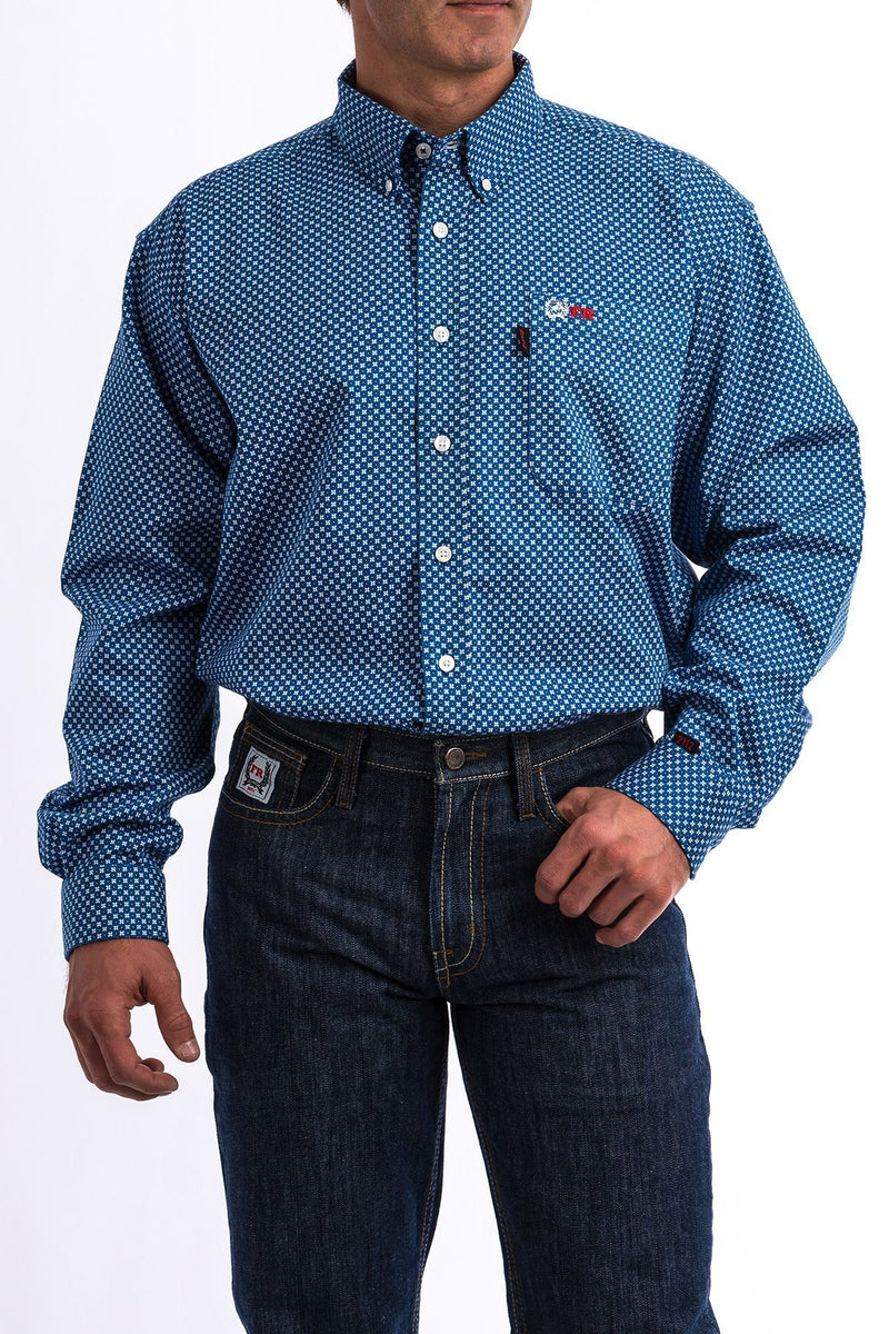 Mens Cinch FR RB/White Geo Print Shirt